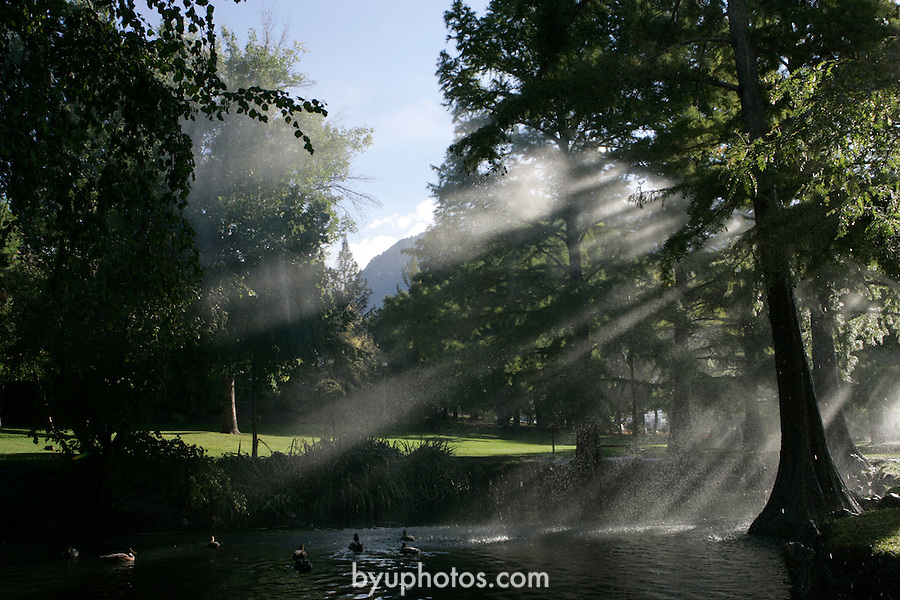 ".""A Day in the Life of BYU""..9/22/04..GCS-  An errant sprinkler creates beautiful light in the Botany Pond on South Campus, Ducks in the pond...Photo by Jaren Wilkey/BYU..Copyright BYU PHOTO 2004 .photo@byu.edu  801-422-7322.0409-30 GCS Day at BYU."