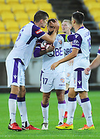 Glory's Deigo Castro celebrates his equaliser during the A-League football match between Wellington Phoenix and Perth Glory at Westpac Stadium in Wellington, New Zealand on Saturday, 2 December 2018. Photo: Dave Lintott / lintottphoto.co.nz