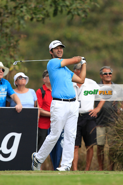 Jorge Campillo (ESP) on the 9th tee during Round 4 of the True Thailand Classic at the Black Mountain Golf  Club on Sunday 15th February 2015.<br /> Picture:  Thos Caffrey / www.golffile.ie