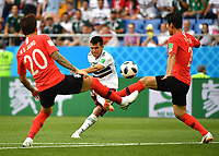 WM 2018, S¸dkorea - Mexiko (180623) -- ROSTOV-ON-DON, June 23, 2018 -- Hirving Lozano (C) of Mexico shoots during the 2018 FIFA World Cup WM Weltmeisterschaft Fussball Group F match between South Korea and Mexico in Rostov-on-Don, Russia, June 23, 2018. ) (SP)RUSSIA-ROSTOV-ON-DON-2018 WORLD CUP-GROUP F-SOUTH KOREA VS MEXICO LixGa PUBLICATIONxNOTxINxCHN  <br /> ROSTOV-ON-DON 23-06-2018 Football FIFA World Cup Russia  2018 <br /> South Korea - Mexico / Corea del Sud - Messico<br /> Foto Xinhua/Imago/Insidefoto