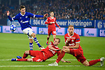 11.12.2018, VELTINS Arena, Gelsenkirchen, Deutschland, GER, UEFA Champions League, Gruppenphase, Gruppe D, FC Schalke 04 vs. FC Lokomotiv Moskva / Moskau<br /> <br /> DFL REGULATIONS PROHIBIT ANY USE OF PHOTOGRAPHS AS IMAGE SEQUENCES AND/OR QUASI-VIDEO.<br /> <br /> im Bild Torschuss Benjamin Goller (#39 Schalke) gegen Dmitri Barinov (#6 Moskau), Benedikt Höwedes / Hoewedes (#5 Moskau)<br /> <br /> Foto © nordphoto / Kurth