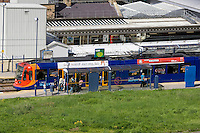 Sheffield Supertram passenger stop next to Sheffield City Railway Station in South Yorkshire