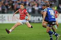Jason Woodward of Gloucester Rugby in full flight during the Gallagher Premiership Rugby match between Bath Rugby and Gloucester Rugby at The Recreation Ground on Saturday 8th September 2018 (Photo by Rob Munro/Stewart Communications)