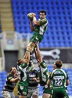 Tom Guest of London Irish wins the ball at a lineout. Aviva Premiership match, between London Irish and Bath Rugby on November 7, 2015 at the Madejski Stadium in Reading, England. Photo by: Patrick Khachfe / Onside Images