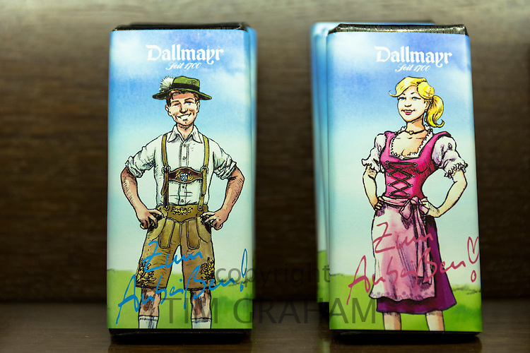 Luxury chocolate with Bavarian images on display in Gift Department at Dallmayr food store in Munich in Bavaria, Germany