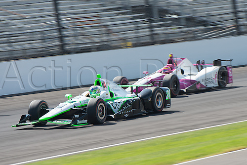 27.05.2016. Indianapolis, IN, USA. IndyCar drivers Sage Karam (24) and Pippa Mann (63) on Carb Day of the 100th running of the Indianapolis 500 at the Indianapolis Motor Speedway in Speedway, IN.