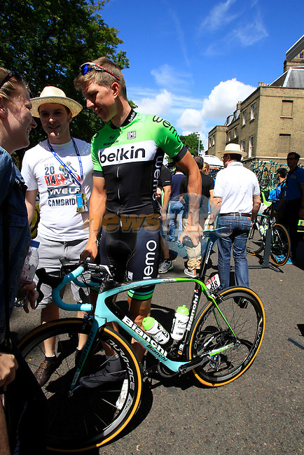 Sep Vanmarcke (BEL) Belkin at the team bus in Cambridge before the start of Stage 3 of the 2014 Tour de France running 155km from Cambridge to London. 7th July 2014.<br /> Picture: Eoin Clarke www.newsfile.ie