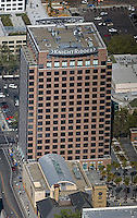 aerial photograph Fairmont Plaza, Silicon Valley Financial Center, Knight Ridder Building, corporate headquarters of Knight Ridder since purchased by The McClatchy Company San Jose, San Clara county, California