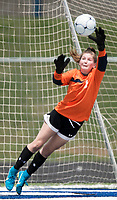 NWA Democrat-Gazette/CHARLIE KAIJO Rogers High School goalkeeper Mackenzie Brace (1) leaps to block a shot at the goal during the semifinals of the 7A Girls State Soccer Tournament, Saturday, May 12, 2018 at Whitey Smith Stadium at Rogers High School in Rogers. Rogers advanced to the finals when midfielder Skylurr Patrick (3) scored both of Rogers' goals defeating Southside High School, 2-1.