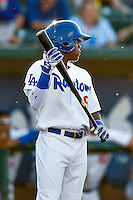 Errol Robinson (9) of the Ogden Raptors at bat against the Grand Junction Rockies in Pioneer League action at Lindquist Field on June 20, 2016 in Ogden, Utah. The Rockies defeated the Raptors 5-2. (Stephen Smith/Four Seam Images)