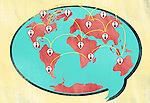 Illustration of ties on world map in chat bubble representing business networking