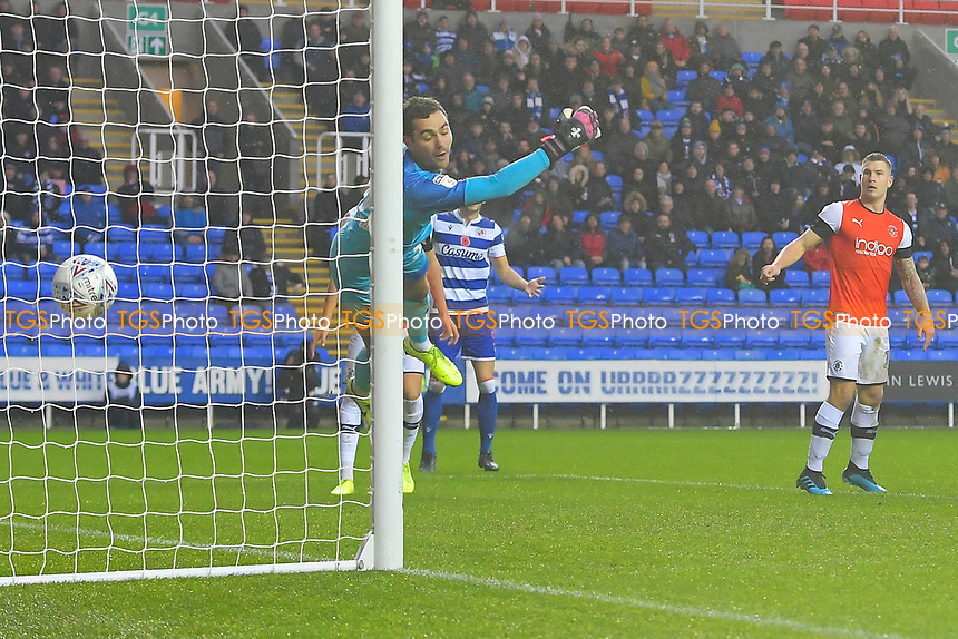 The header from Michael Morrison of Reading out of picture beats Luton Town  keeper James Shea for the first goal  during Reading vs Luton Town, Sky Bet EFL Championship Football at the Madejski Stadium on 9th November 2019