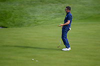 Rory McIlroy (Team Europe) reacts after barely missing his putt on 9 during Friday's foursomes of the 2018 Ryder Cup, Le Golf National, Guyancourt, France. 9/28/2018.<br /> Picture: Golffile | Ken Murray<br /> <br /> <br /> All photo usage must carry mandatory copyright credit (&copy; Golffile | Ken Murray)