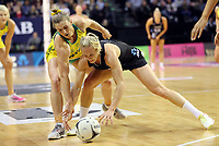 18.10.2018 Silver Ferns Laura Langman and Australia's Gabi Simpson in action during the Silver Ferns v Australia netball test match at the TSB Arena in Wellington. Mandatory Photo Credit ©Michael Bradley.