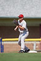 Auburn Doubledays first baseman Nic Perkins (43) during a game against the Batavia Muckdogs on September 2, 2018 at Dwyer Stadium in Batavia, New York.  Batavia defeated Auburn 5-4.  (Mike Janes/Four Seam Images)
