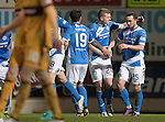 St Johnstone v Motherwell&hellip;17.12.16     McDiarmid Park    SPFL<br />Chris Kane celebrates his goal with Brian Easton<br />Picture by Graeme Hart.<br />Copyright Perthshire Picture Agency<br />Tel: 01738 623350  Mobile: 07990 594431