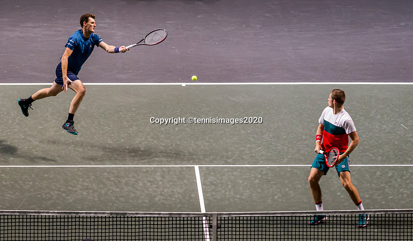 Rotterdam, The Netherlands, 14 Februari 2020, ABNAMRO World Tennis Tournament, Ahoy, Doubles: Jamie Murray / Neal Skupski <br /> Photo: www.tennisimages.com