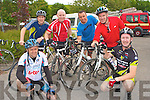 CHARITY CYCYE: Taking part in the charity cycle in aid of Kerry Mountain Rescue and Kerry Hospice at Killarney Fire Station on Saturday front l-r: Garry O'Sullivan and Paudie McElligott, Ballyheigue. Back l-r: Ned Flahive, Declan Sheehan, Kevin O'Sullivan and Sean Kenny all from Ballyheigue.