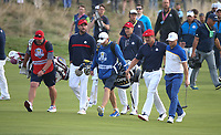 Alex Noren (Team Europe) walks to the 18th side by side with Bryson Dechambeau (Team USA) during Sunday's Singles, at the Ryder Cup, Le Golf National, &Icirc;le-de-France, France. 30/09/2018.<br /> Picture David Lloyd / Golffile.ie<br /> <br /> All photo usage must carry mandatory copyright credit (&copy; Golffile | David Lloyd)