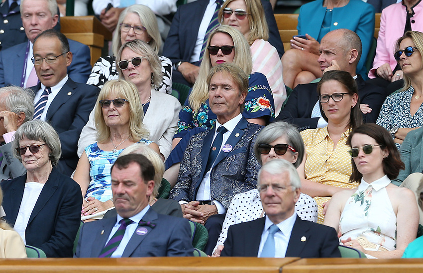 Sir Cliff Richard watches from the Royal Box<br /> <br /> <br /> Photographer Rob Newell/CameraSport<br /> <br /> Wimbledon Lawn Tennis Championships - Day 10 - Thursday 11th July 2019 -  All England Lawn Tennis and Croquet Club - Wimbledon - London - England<br /> <br /> World Copyright © 2019 CameraSport. All rights reserved. 43 Linden Ave. Countesthorpe. Leicester. England. LE8 5PG - Tel: +44 (0) 116 277 4147 - admin@camerasport.com - www.camerasport.com