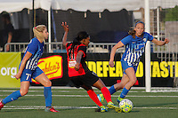 Rochester, NY - Friday May 27, 2016: Western New York Flash forward Taylor Smith (11) strikes the ball. The Western New York Flash defeated the Boston Breakers 4-0 during a regular season National Women's Soccer League (NWSL) match at Rochester Rhinos Stadium.