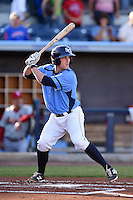Charlotte Stone Crabs catcher Justin O'Conner (11) at bat during a game against the Palm Beach Cardinals on April 12, 2014 at Charlotte Sports Park in Port Charlotte, Florida.  Palm Beach defeated Charlotte 6-2.  (Mike Janes/Four Seam Images)