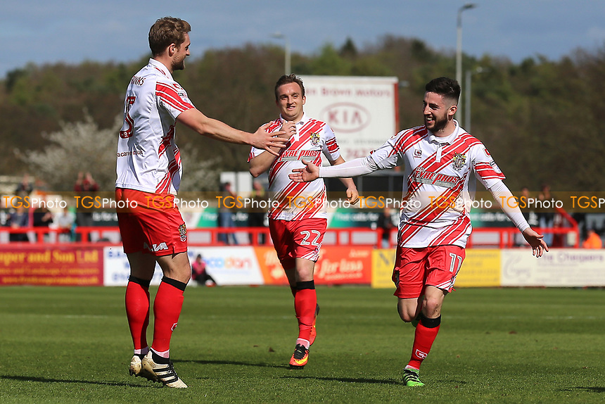Tom Pett of Stevenage scores the first goal for his team and celebrates during Stevenage vs Barnet, Sky Bet EFL League 2 Football at the Lamex Stadium on 1st April 2017