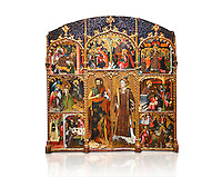 Gothic altarpiece of Saint Esteve (Stephen) & John the Baptist by Mestre de Bardalona, early 15th century, tempera and gold leaf on for wood from Santa Maria de Badalona.  National Museum of Catalan Art, Barcelona, Spain, inv no: MNAC   15824. Against a white background.