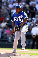 August 15 2008:  Pitcher Robinson Tejeda of the Kansas City Royals during a game at U.S. Cellular Field in Chicago, IL.  Photo by:  Mike Janes/Four Seam Images