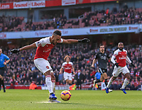 Arsenal v Burnley Premier League Pierre-Emerick Aubameyang of Arsenal scores his second goal during the Premier League match at the Emirates Stadium, London PUBLICATIONxNOTxINxUK Copyright: xStevexO Sullivanx FIL-12716-0041  <br /> Foto Imago/Insidefoto