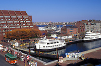Boston, MA, Massachusetts, View of Whale Watching Boats in Boston Inner Harbor in downtown Boston in the fall.