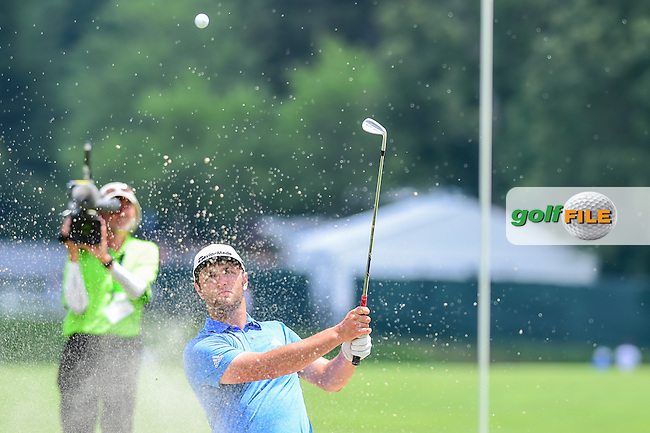 Jon Rahm (ESP) hits from the trap on 1 during round 2 of the 2016 Quicken Loans National, Congressional Country Club, Bethesda, Maryland, USA. 6/24/2016.<br /> Picture: Golffile | Ken Murray<br /> <br /> <br /> All photo usage must carry mandatory copyright credit (&copy; Golffile | Ken Murray)