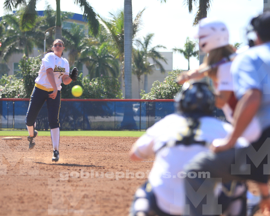 University of Michigan softball 3-0 victory over Massachusetts at the FAU Kickoff Classic Boca Raton, FL, on February 19, 2011.