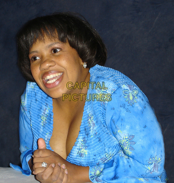 "CHANDRA WILSON              .Photocall for ""Grey's Anatomy"" held at the Grand Trianon room of the Regent Beverly Wilshire, USA..August 18th, 2006.Ref: AW.headshot portrait blue turquoise cleavage.www.capitalpictures.com.sales@capitalpictures.com.©Anita Weber/Capital Pictures."