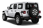 Car pictures of rear three quarter view of a 2018 Jeep Wrangler Unlimited Sahara 5 Door SUV angular rear