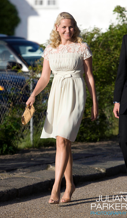 Crown Princess Mette Marit of Norway arrives for a Dinner Party at Fredensborg Palace, in Denmark, to celebrate Crown Prince Frederiks 40th Birthday. Crown Prince Frederik turned 40 on May 26th