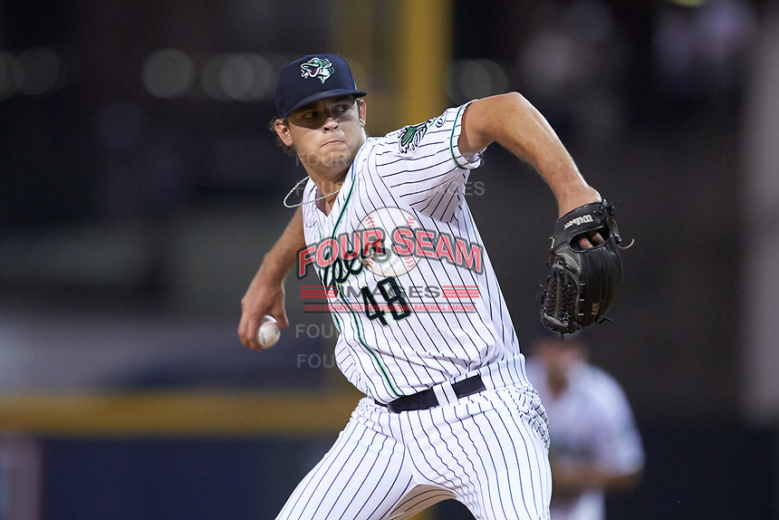 Gwinnett Stripers relief pitcher Jeremy Walker (48) in action against the Scranton/Wilkes-Barre RailRiders at BB&T BallPark on August 18, 2019 in Lawrenceville, Georgia. The RailRiders defeated the Stripers 9-3. (Brian Westerholt/Four Seam Images)