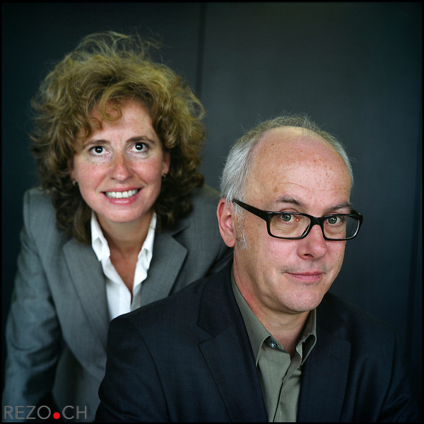 Valerie Boagno et Jean-Jacques Roth, respectivement directrice generale et redacteur en chef du journal Le Temps.