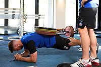 Rhys Priestland of Bath Rugby in the gym. Bath Rugby pre-season training on July 2, 2018 at Farleigh House in Bath, England. Photo by: Patrick Khachfe / Onside Images
