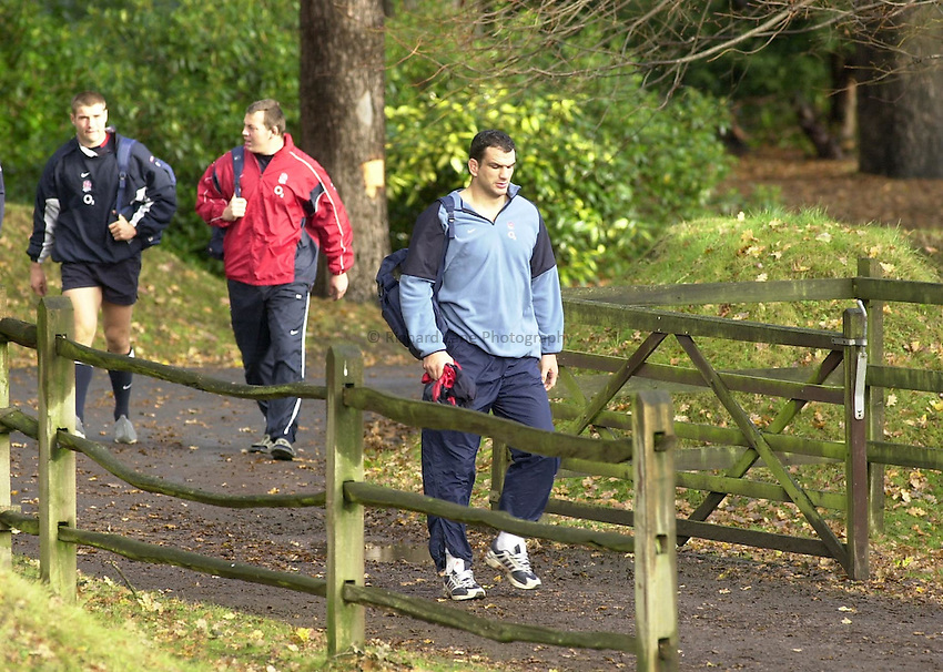 Photo: Greig Cowie.England Rugby Training. Penny Hill Park. 13-11-02.The Autumn internationals are no walk in the park for the England team.