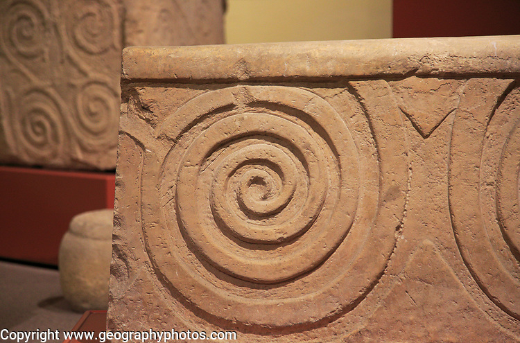 Carved stone neolithic spiral design, National Museum of Archaeology, Valletta, Malta