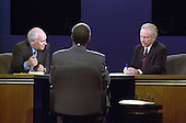 Democratic Vice Presidential Candidate United States Senator Joseph Lieberman (Democrat of Connecticut), right, and Republican Hopeful Dick Cheney, left, aim their comments at each other before moderator Bernard Shaw during the VP debate at Centre College in Danville, Kentucky against Richard B. Cheney Thursday October 5, 2000. <br /> Credit: John Simpson - Pool via CNP