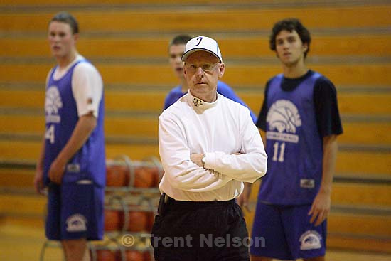 Taylorsville high school basketball coach John Bowman conducts a practice. He was recently diagnosed with cancer.<br />