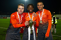 Pictured: Jacob Jones, Tivonge Rushesha and Ali Al-Hamadi of Swansea City u19's at full time during the FAW youth cup final between Swansea City and The New Saints at Park Avenue in Aberystwyth Town, Wales, UK.<br /> Wednesday 17 April 2019