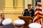 WATERBURY, CT. 20 December 2019-122019BS247 - Newly appointed Waterbury Fire Chief Terry Ballou addresses fellow firefighters, family and friends in attendance, as Waterbury Mayor Neil O'Leary, left, looks on, during the swearing in ceremony for Waterbury Fire Chief at City Hall on Friday. Terry Ballou replaces former Fire Chief David Martin, who retired earlier this year. Bill Shettle Republican-American