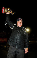 Nov 14, 2010; Pomona, CA, USA; NHRA top alcohol dragster driver Michael Manners celebrates after winning the Auto Club Finals at Auto Club Raceway at Pomona. Mandatory Credit: Mark J. Rebilas-