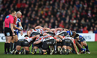 4th January 2020; Kingsholm Stadium, Gloucester, Gloucestershire, England; English Premiership Rugby, Gloucester versus Bath; Willi Heinz of Gloucester prepares to feed the ball into the scrum - Editorial Use