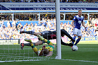 Connal Trueman of Birmingham City dives over Jordan Rhodes of Norwich City to get to the ball during Birmingham City vs Norwich City, Sky Bet EFL Championship Football at St Andrews on 4th August 2018