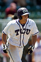 Outfielder Jerrick Suiter #31 of the Texas Christian University Horned Frogs heads to first base after getting hit by a pitch during the NCAA Regional baseball game against the Ole Miss Rebels on June 1, 2012 at Blue Bell Park in College Station, Texas. Ole Miss defeated TCU 6-2. (Andrew Woolley/Four Seam Images)