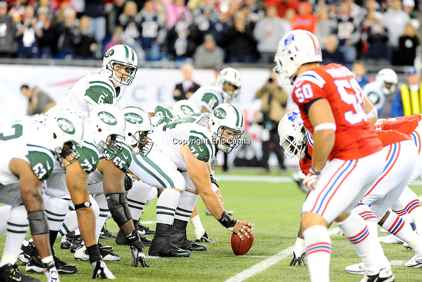 October 21, 2012 New York Jets quarterback Mark Sanchez (6) and the offensive line   during the New England Patriots vs New York Jets game played at Gillette Stadium in Foxborough, Massachusetts.   Eric Canha/CSM